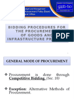 Procedure for bids and awards