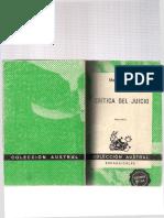 Crítica Del Juicio Trad. García Morente