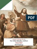 Viernes 15 de mayo de 2020. Vísperas gregorianas de san Isidro LAbrador, confesor. Propio de España