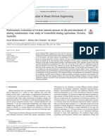 Performance evaluation of reverse osmosis process in the post-treatment of mining wastewaters