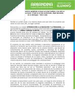 Carta de Bienvenida Introducción a la Educación y la Pedagogía. 2020-1.  Febrero 10 de 2020