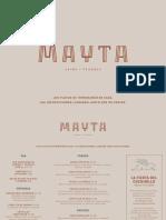 Carta del restaurante Mayta