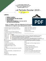 Lista de Útiles de 5to Grado 2019 - 2020