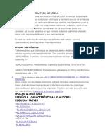 ÉPOCAS DE LA LITERATURA ESPAÑOLA