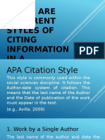 T9 There are different styles of citing information in