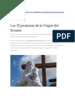 Las 15 promesas de la Virgen del Rosario