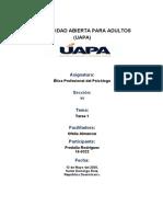 TAREA 1 ETICA PROFESIONAL DEL PSICOLOGO