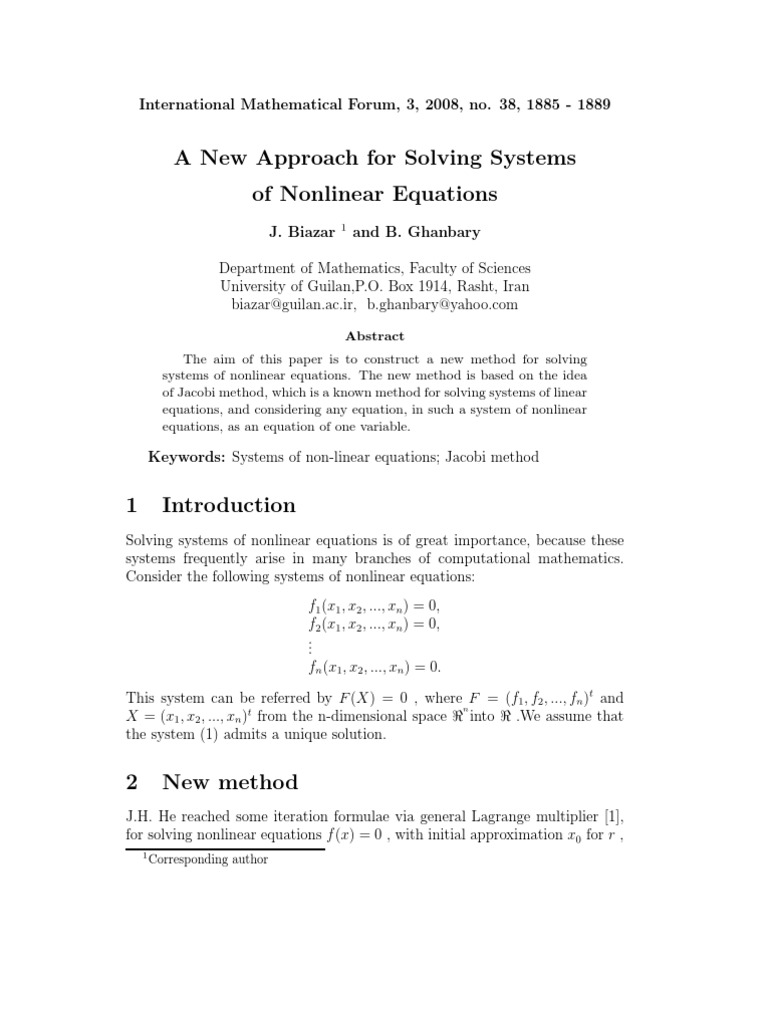anew approach for solving systems of nonlinear equations
