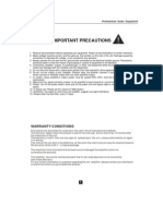 Professional Audio Equipment IMPORTANT PRECAUTIONS 1. Read All Documentation