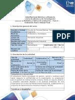 Guía de actividades y rubrica de evaluación - Fase  6 - Evaluación final o trabajo final