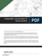 Instantele comunicării in textul poetic