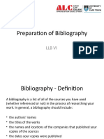 Preparation of Bibliography