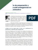 anificación de preparación y respuesta ante emergencias en el sector extractivo