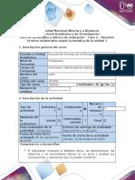Guía de actividades y rúbrica de evaluación - Fase 2 - Resolver la tarea colaborativa según la temática de la unidad 1