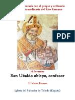 16 de Mayo. San Ubaldo Obispo, confesor. Propio y Ordinario de la santa misa