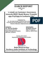 A Study on Customer Awareness Towards HDFC Bank Money Transfer App-PayZapp in Lucknow City