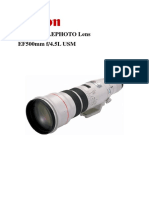 EF 500mm f4.5 L USM Super Telephoto Lens Manual
