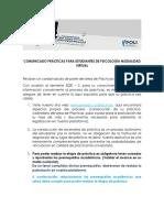 Comunicado Prácticas Virtual Psicología 2020 1