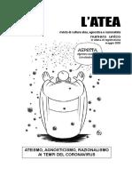 Rivista l'Atea (Italia) Rivista de Cultura Atea, Agnostica e Razionalista Numero Unico Maggio 2020