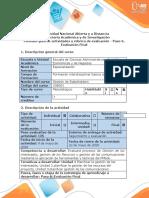 Guía de actividades y rúbrica de evaluación - Paso 5 - Evalución final