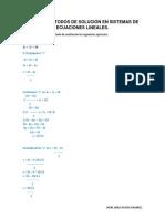 Actividad 3 - Métodos de solución en sistemas de ecuaciones lineales. Taller-práctico.