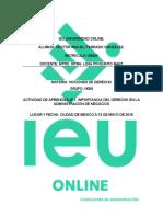 Actividad de Aprendizaje 1. Importancia del Derecho en la Administración de Negocios