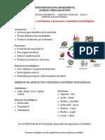 Guia No.2 -Características de los artefactos y procesos o sistemas tecnológicos