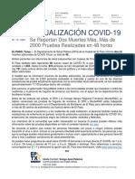 2020.05.15 COMUNICADO de PRENSA Se Reportan Dos Muertes Maìs Maìs de 2000 Pruebas Realizadas en 48 Horas