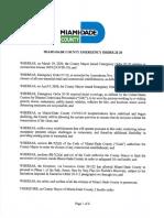 Miami-Dade Mayor Carlos Gimenez's Coronavirus Emergency Order