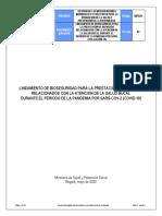 GIPS31 Version 2 LINEAMIENTO DE BIOSEGURIDAD PARA LA PRESTACIÓN DE SERVICIOS RELACIONADOS CON LA ATENCION DE LA SALUD BUCAL DURANTE EL PERIODO DE LA PANDEMIA POR SARS-COV-2 (COVID-19)