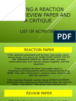 REACTION, REVIEW & CRITIQUE ACTIVITIES 12-D