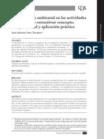 La Mitigación Ambiental en las actividades Extractivas o Productivas - José Antonio Vera Torrejón (2015)