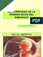 5ta. SM II METRORRAGIASDEL PRIMER TRIMESTRE. aborto cjasif