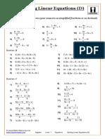 Algebra. Equations. Solving Linear Equations (D)