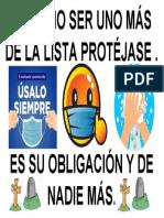 PARA NO SER UNO MÁS DE LISTA PROTEJATE - USE TAPABOCAS