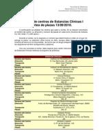 Relación de centros de Estancias Clínicas I para el sorteo 1er semestre2010-2011