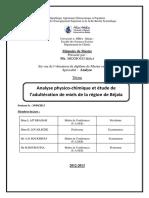 Analyse physico-chimique et étude de l'adultération de miels de la région de Béjaïa.