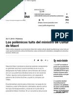Los polémicos tuits del ministro de Cultura de Macri - Política Argentina