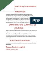 Relación entre el clima y los ecosistemas colombianos NESTOR