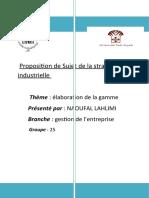 Proposition de Sujet de la stratégie    industrielle