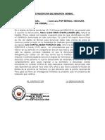 ACTA DE DENUNCIA VERBAL POR VIOLENCIA FAMILIAR