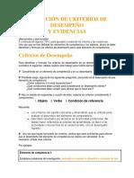 Guía para elaborar criterios y evidencias