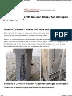 Methods of Concrete Column Repair for Cracks and Damages