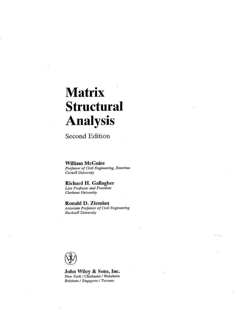 matrix structural analysis rh scribd com Stiffness Method Beam matrix structural analysis mcguire solution manual