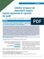 influenta ajustarilor propuse de auditorul independent asupra opiniei exprimate in raportul de audit