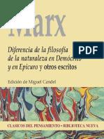 Marx, Karl. Diferencia de La Filosofía de La Naturaleza en Demócrito y en Epicuro. 2012