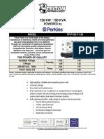 150 kVA Perkins Diesel Generator - Non EPA - TP-P150-T1-50 - 1106A-70TG10503201816411863