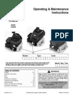 Briggs & Stratton Operating & Maintenance Instructions