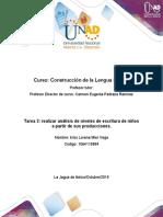 Tarea 3 lengua escrita- Realizar análisis de niveles de escritura de niños a partir de sus producciones..docx----