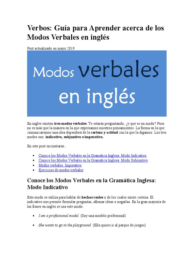 Modos Verbales   PDF   Gramática inglesa   Verbo